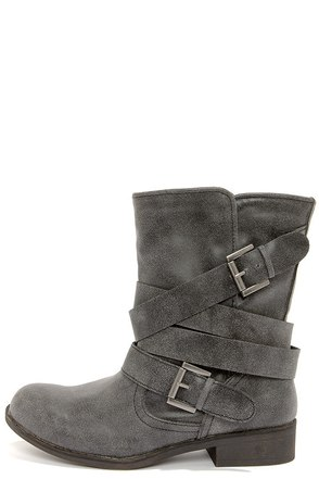 Madden Girl Cullenn Black Burnished and Belted Boots