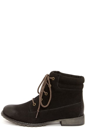 Madden Girl Raage Black Suede Lace-Up Work Boots