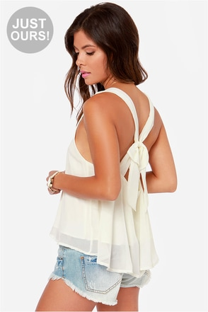 LULUS Exclusive Out All Night Ivory Tank Top