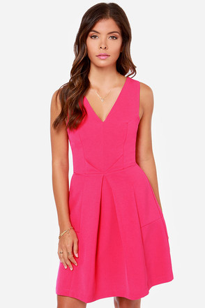 Aryn K Pleats-ed As Punch Fuchsia Dress