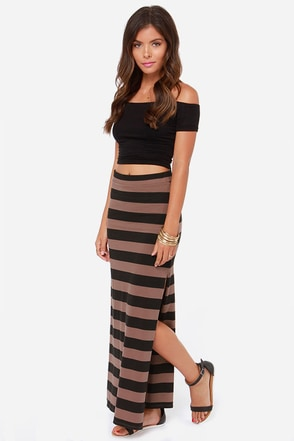 Billabong Glass Petals Black and Brown Striped Maxi Skirt