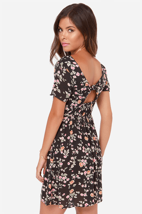 Billabong Glass Petals Black Floral Print Dress