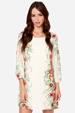 All Along The Watch Flower Cream Floral Print Dress