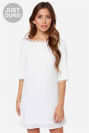 LULUS Exclusive Feeling Loopy Ivory Shift Dress