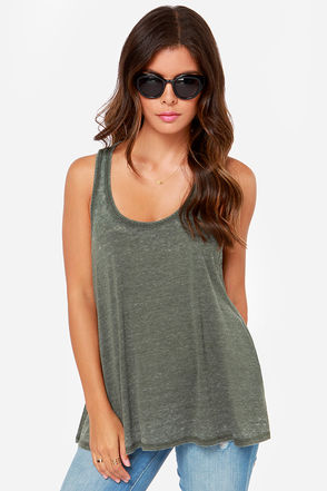 Tank You Very Much Olive Green Tank Top