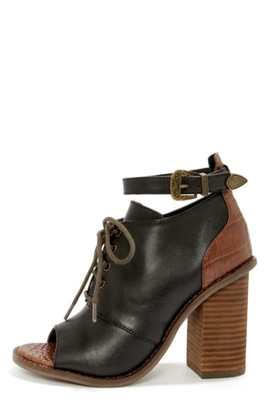 Kelsi Dagger Bina Black and Brown Peep Toe Booties