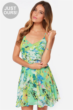 LULUS Exclusive Fun-tasia Green Print Dress