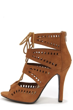 My Delicious Caper Light Hazel Cutout Peep Toe Booties