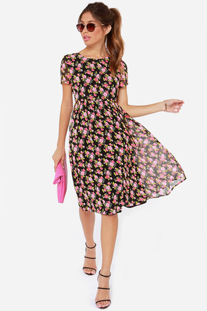Lucca Couture Electric Feels Black Floral Print Dress