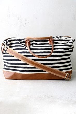 LULUS Exclusive Jet Setter Cream and Black Striped Weekender Bag at Lulus.com!