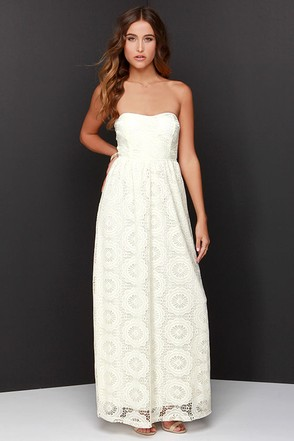 No Less Than Flawless Strapless Cream Lace Maxi Dress