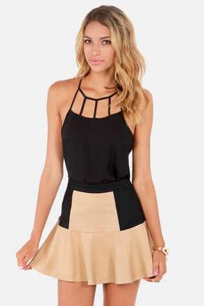 The Trumpet Card Black and Beige Vegan Leather Skirt
