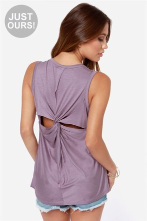 LULUS Exclusive Twisted Sister Dusty Purple Tank Top