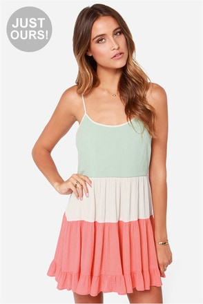LULUS Exclusive Tier Candy Mint and Coral Dress