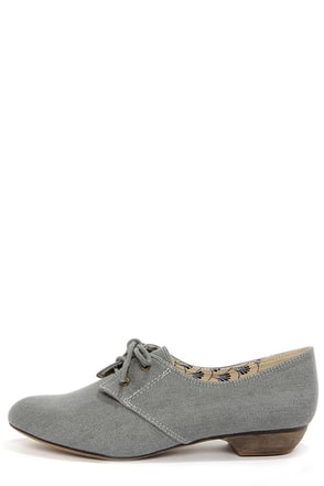 Restricted Liberty Grey Denim Lace-Up Flats