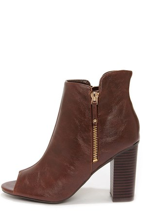 Bamboo Abbatha 13X Brown Peep Toe Booties