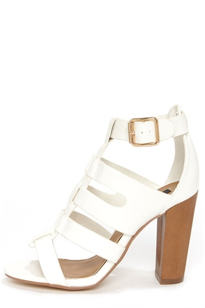 Dollhouse Heritage White Caged High Heel Sandals