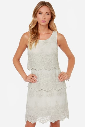 Black Swan Le Belle Light Grey Lace Dress