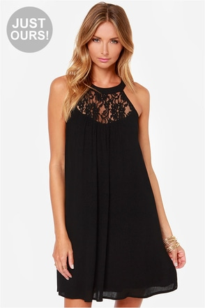 LULUS Exclusive Crepe Draper Black Lace Dress at Lulus.com!