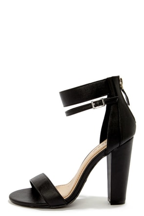 Bamboo Senza 01 Black Single Strap High Heels