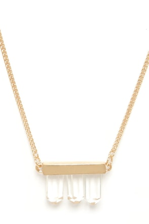 But Of Quartz Gold Crystal Pendant Necklace