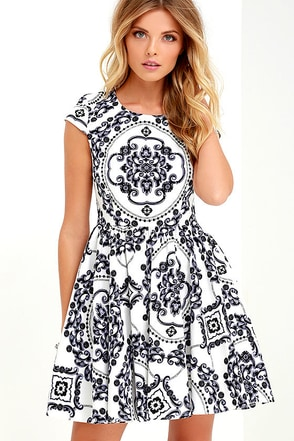 Royal Luxe Ivory Print Dress
