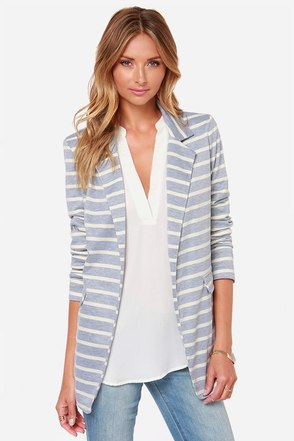 Striping Resemblance Grey Striped Blazer