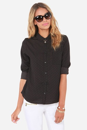 Olive & Oak A Speckled Night Black Button-Up Top