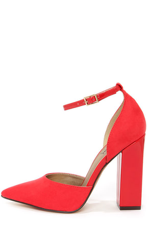 Luichiny Till We Meet Red Pointed D'Orsay Heels
