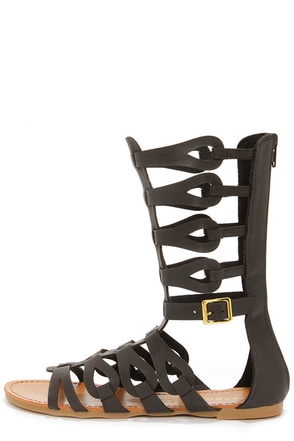 Bamboo Sawyer 03 Black Tall Gladiator Sandals