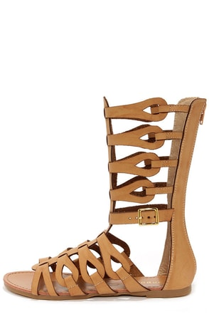 Bamboo Sawyer 03 Chestnut Tall Gladiator Sandals