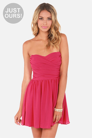 LULUS Exclusive Sash Flow Strapless Fuchsia Dress