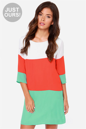 LULUS Exclusive Citrus Grove Mint and Peach Shift Dress at Lulus.com!