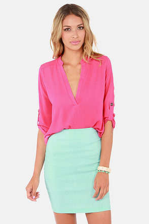 V-sionary Fuchsia Pink Top
