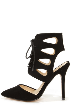 Anne Michelle Spiral 26 Black Lace-Up Pointed Heels