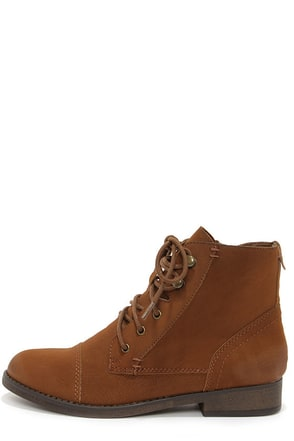 Madden Girl Ruebe Cognac Lace-Up Ankle Boots