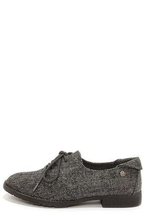 Blowfish Tane Grey Herringbone Oxford Flats