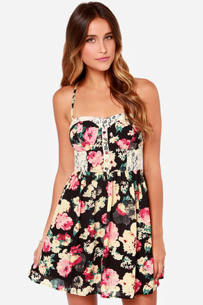 Briar Rose Black Floral Print Lace Dress