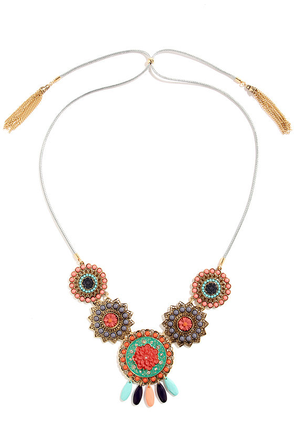 Mayan A Moment Gold Beaded Statement Necklace