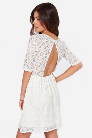 Roxy Out There Ivory Lace Dress