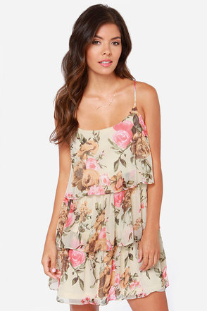 Blossom Like It Hot Cream Floral Print Dress at Lulus.com!