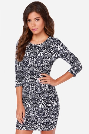 When In Monochrome Ivory and Navy Blue Print Dress