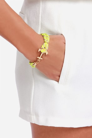 Ocean Lore Beige and Neon Yellow Bracelet