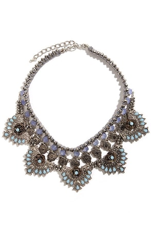 Royal Revival Silver Rhinestone Statement Necklace
