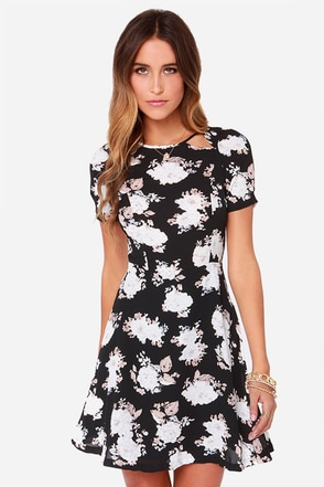 BB Dakota Reena Black Floral Print Dress