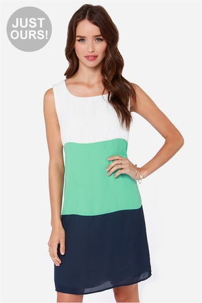 LULUS Exclusive Modern Medley Mint and Navy Blue Dress