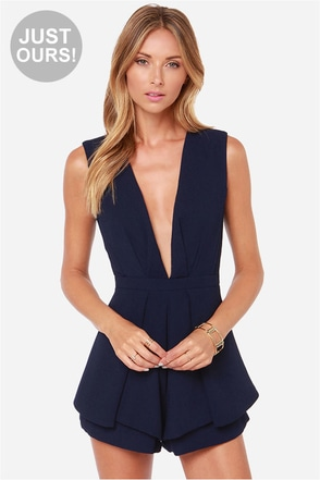 LULUS Exclusive It's a Kind of Magic Navy Blue Romper
