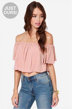 LULUS Exclusive Good Time Denim Blue Off-the-Shoulder Top