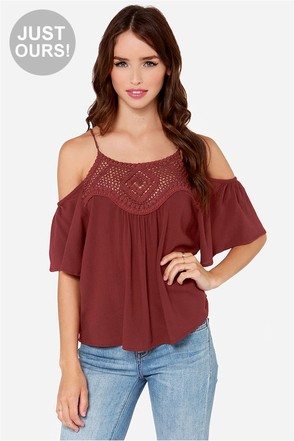 LULUS Exclusive Instant Karma Wine Red Crochet Top