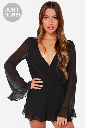 LULUS Exclusive Divine Intervention Black Romper